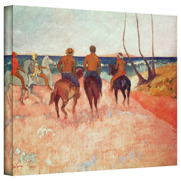 Art Wall Paul Gauguin 'Horseman on the Beach' Gallery-wrapped Canvas