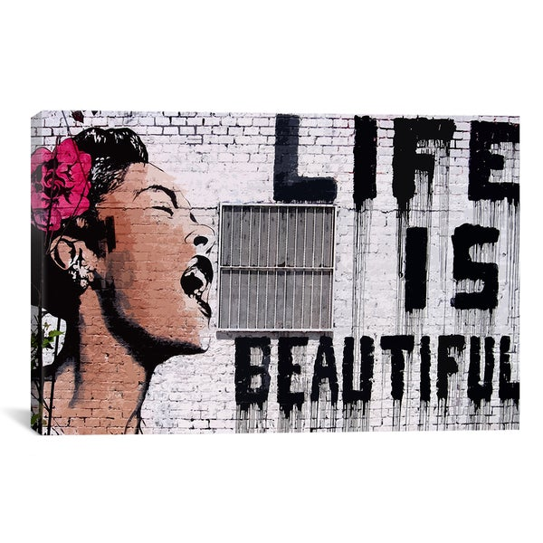 Banksy 'Life Is Beautiful' Canvas Print Wall Art
