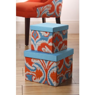 Ikat Square Applique Boxes (Set of 2)