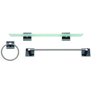 Chrome and Glass 3-piece Bathroom Accessory Set