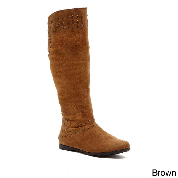 Women's Faux Suede Knee-high Boots Tan in 6.5(As Is Item)