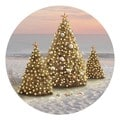 Christmas Trees on Beach Coaster Set