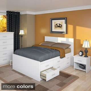 Sonax 6D-1X1-LWB 4 Piece Full / Double Captain's Storage Bed Set with Flat Headboard, Nightstand and Chest of Drawers