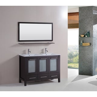Kokols 48-inch Double Vanity Bathroom Ceramic Sink Cabinet Combo Set