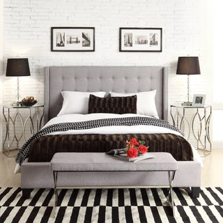 INSPIRE Q Marion Grey Linen Nailhead Wingback Upholstered King-sized Bed