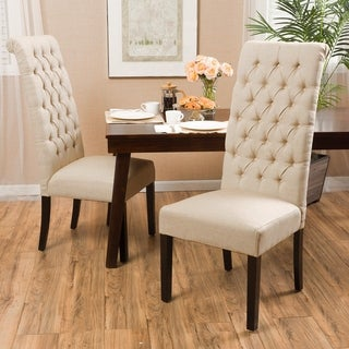 Christopher Knight Home Tall Dark Beige Tufted Fabric Dining Chair (Set of 2)