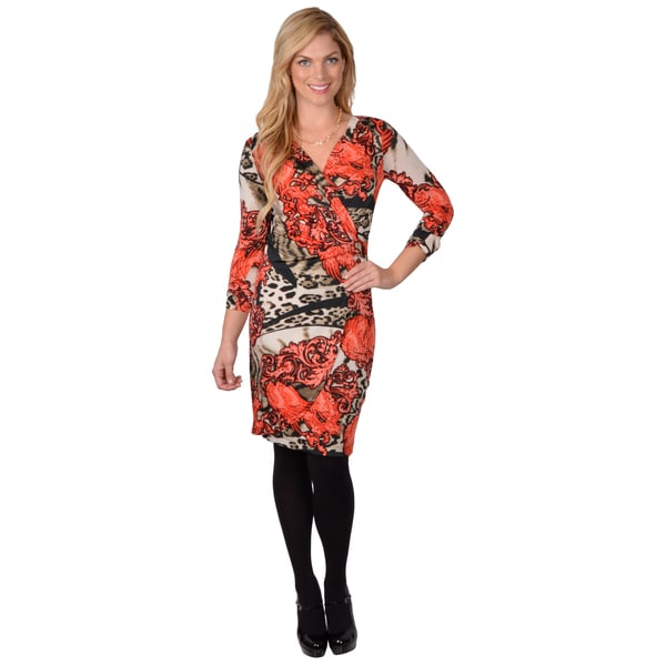 Journee Collection Womens Patterned Wrap Sleeve Dress