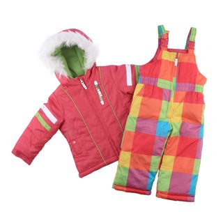 SB London Fog Toddlers Girls Plaid 2-piece Snowsuit and Jacket Set