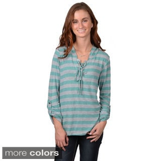 Journee Collection Junior's Hooded Striped Long-sleeve Top