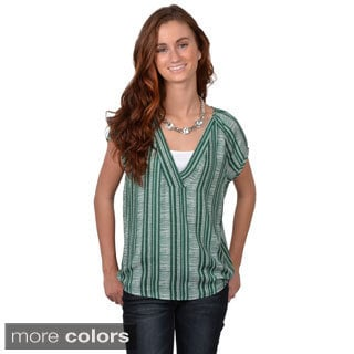 Journee Collection Junior's Striped Short-Sleeve V-Neck Blouse