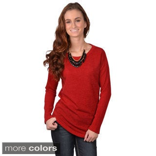 Journee Collection Junior's Long Sleeve Ribbed Sleeve Sweater