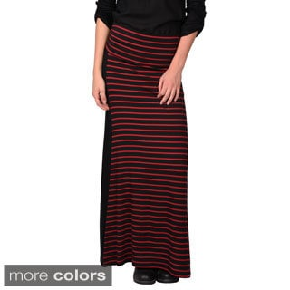 Journee Collection Junior's Banded Striped Maxi Skirt