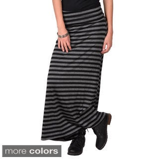 Journee Collection Junior's Striped Fold-over Maxi Skirt