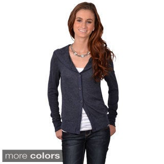 Journee Collection Junior's Hooded Button-up Cardigan