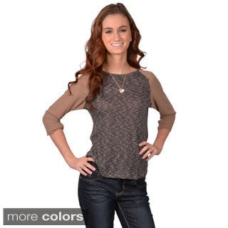 Journee Collection Junior's Scoop Neck Chiffon Sleeve Top with No Collar