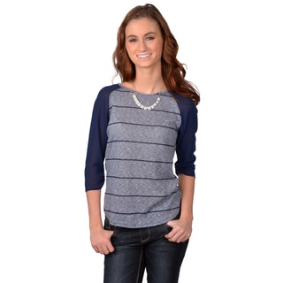 Navy Journee Collection Junior's Scoop Neck Chiffon Sleeve Top