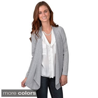 Journee Collection Junior's Ribbed Open Front Long-Sleeved Cardigan