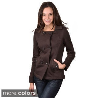 Journee Collection Junior's Cotton-Blend Two-Pocket Double-Breasted Jacket