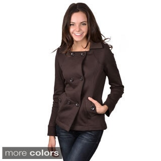 Journee Collection Junior's Cotton Blend Double Breasted Jacket