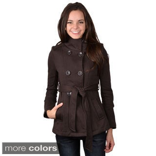Journee Collection Junior's Double Breasted Tie Waist Jacket