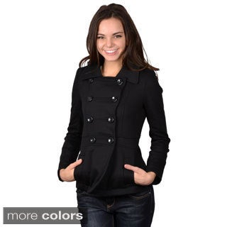Journee Collection Juniors Cotton-Blend Button-Front Double-Breasted Jacket