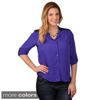 Tressa Designs Women's Contemporary Plus Button-up Chiffon Top
