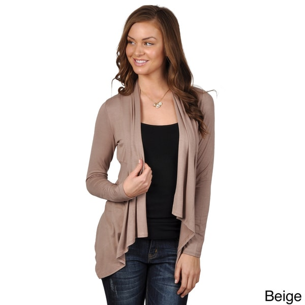 Journee Collection Juniors Long Sleeve Fitted Open-front Waterfall Cardigan