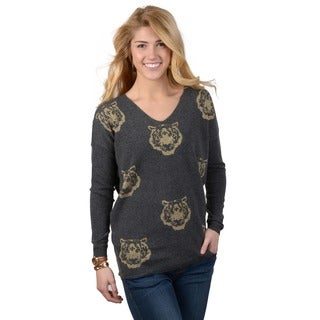 Journee Collection Junior's V-neck Tiger Print Sweater