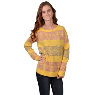 Journee Collection Junior's Scoop Neck Printed Sweater