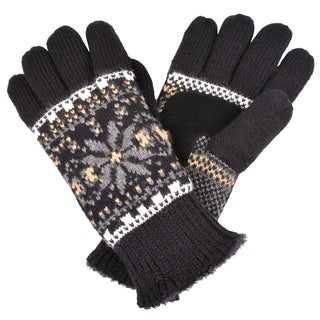 Isotoner Women's Fair Isle Knit Snowflake Pattern Gloves