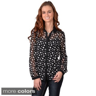 Journee Collection Junior's Polka-Dot Long Sleeve Button-up Chiffon Blouse