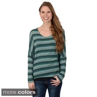 Journee Collection Junior's Striped Long-Sleeve Top with Scoop Neckline