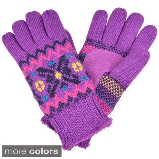 Isotoner Women's Acrylic Knit Snowflake Pattern Gloves