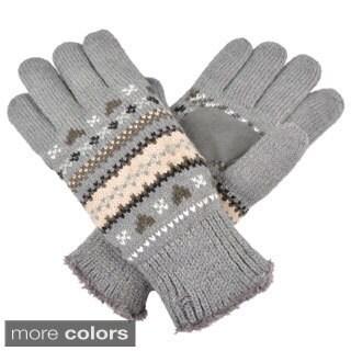 Isotoner Women's Fair Isle Knit Heart Pattern Gloves