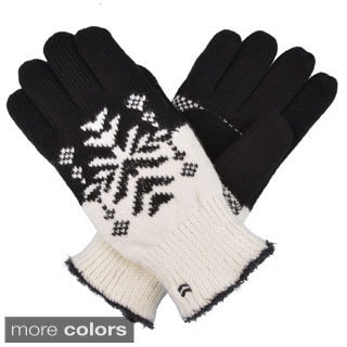 Isontoner Women's Knit Snowflake Pattern Gloves with Suede Palm Grippers