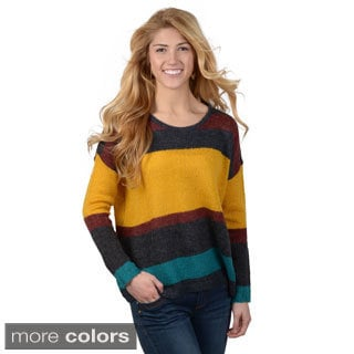 Journee Collection Junior's Round-Neckline Striped Knit Sweater