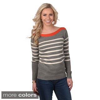 Journee Collection Junior's Striped Knit Long-Sleeved Sweater