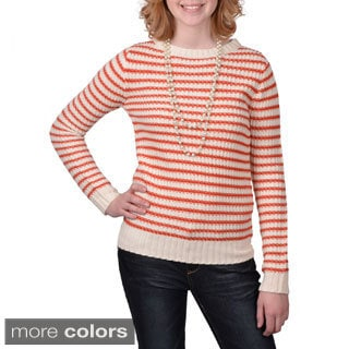 Journee Collection Junior's Lightweight Striped Knit Sweater