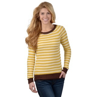 Journee Collection Junior's Chocolate Striped Knit Sweater