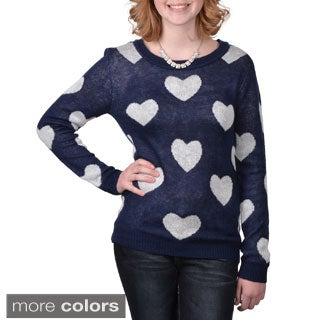 Journee Collection Junior's Heart Print Scoop Neck Sweater