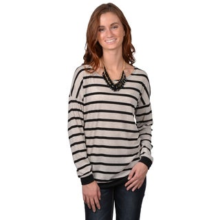 Journee Collection Junior's Striped Long-Sleeve Top with No Lining