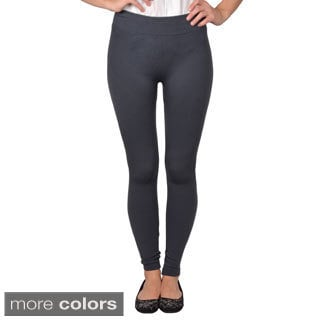 Journee Collection Junior's Seamless Textured Leggings with Elastic Waist