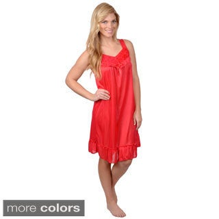 Journee Collection Womens Rosette Accent Sleeveless Nightie