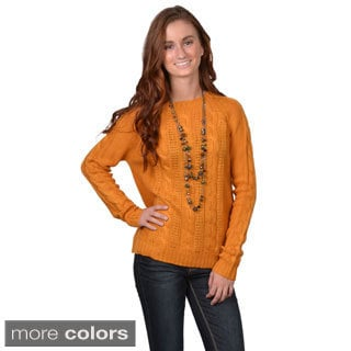 Journee Collection Junior's Scoop Neck Cable Knit Long-Sleeved Sweater