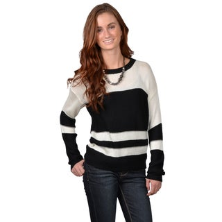 Journee Collection Junior's Scoop Neck Striped Knit Sweater