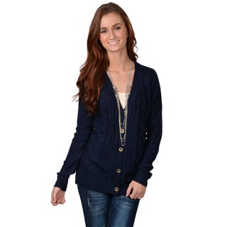 Journee Collection Junior's Long-sleeve Button-up Cardigan Sweater