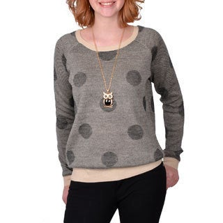 Journee Collection Junior's Two-tone Polka-dot Sweater
