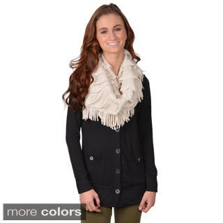 Journee Collection Women's 100 Percent Acrylic Fringed Knit Infinity Scarf