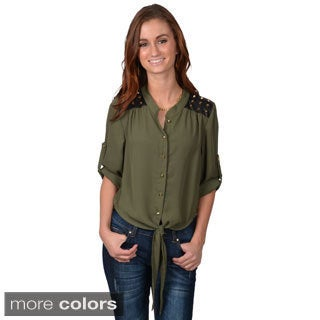 Journee Collection Junior's Studded Button-up Top