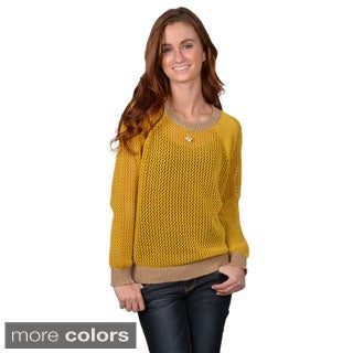 Journee Collection Junior's Scoop Neck Two-tone Sweater